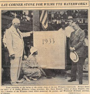 C.P. Dubbs (left) laying the cornerstone for the Water Plant