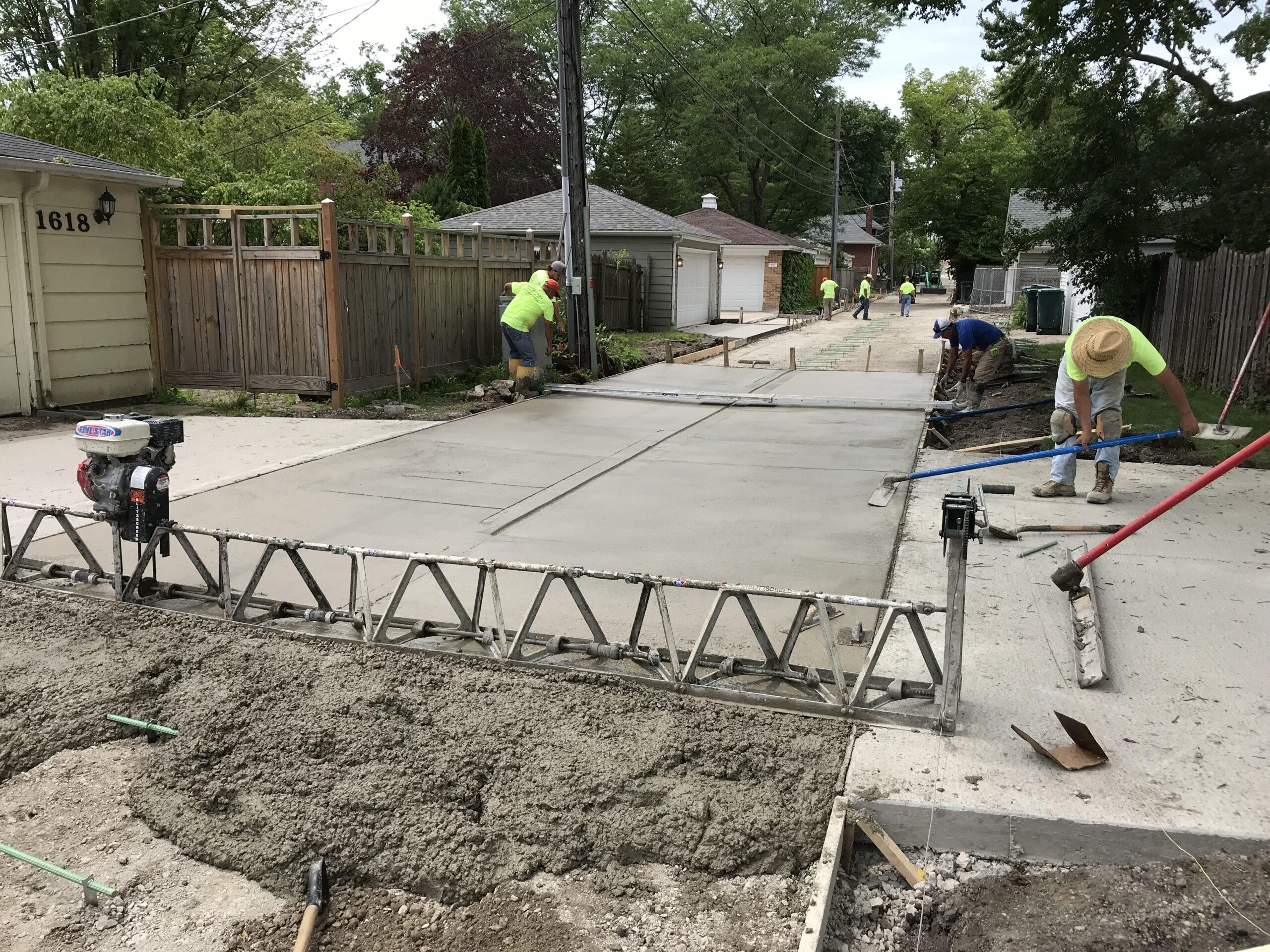 Pouring the Concrete Pavement